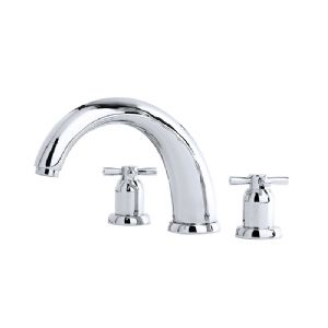 "3859 Perrin & Rowe 10"" Three Hole Bath Tap Set Crosshead"